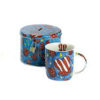 Set cadou cana ceai cu pusculita (albastru)