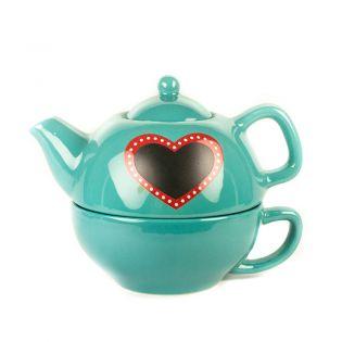 Set ceainic cu ceasca Heart turcoaz