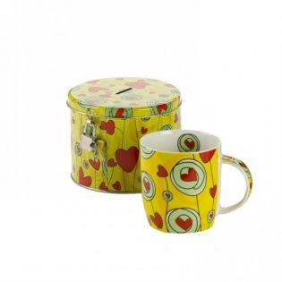 Set cadou cana ceai cu pusculita (galben)