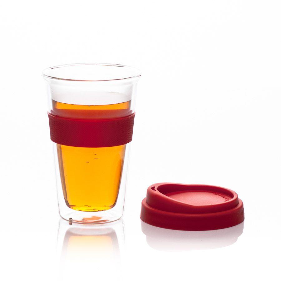 Cană tea2go sticlă dublă cu capac silicon