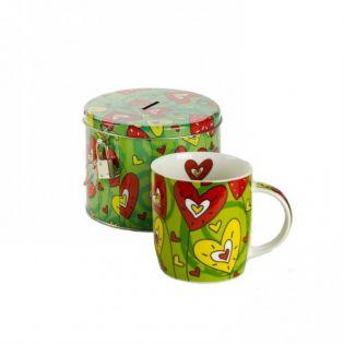 Set cadou cana ceai cu pusculita (verde)